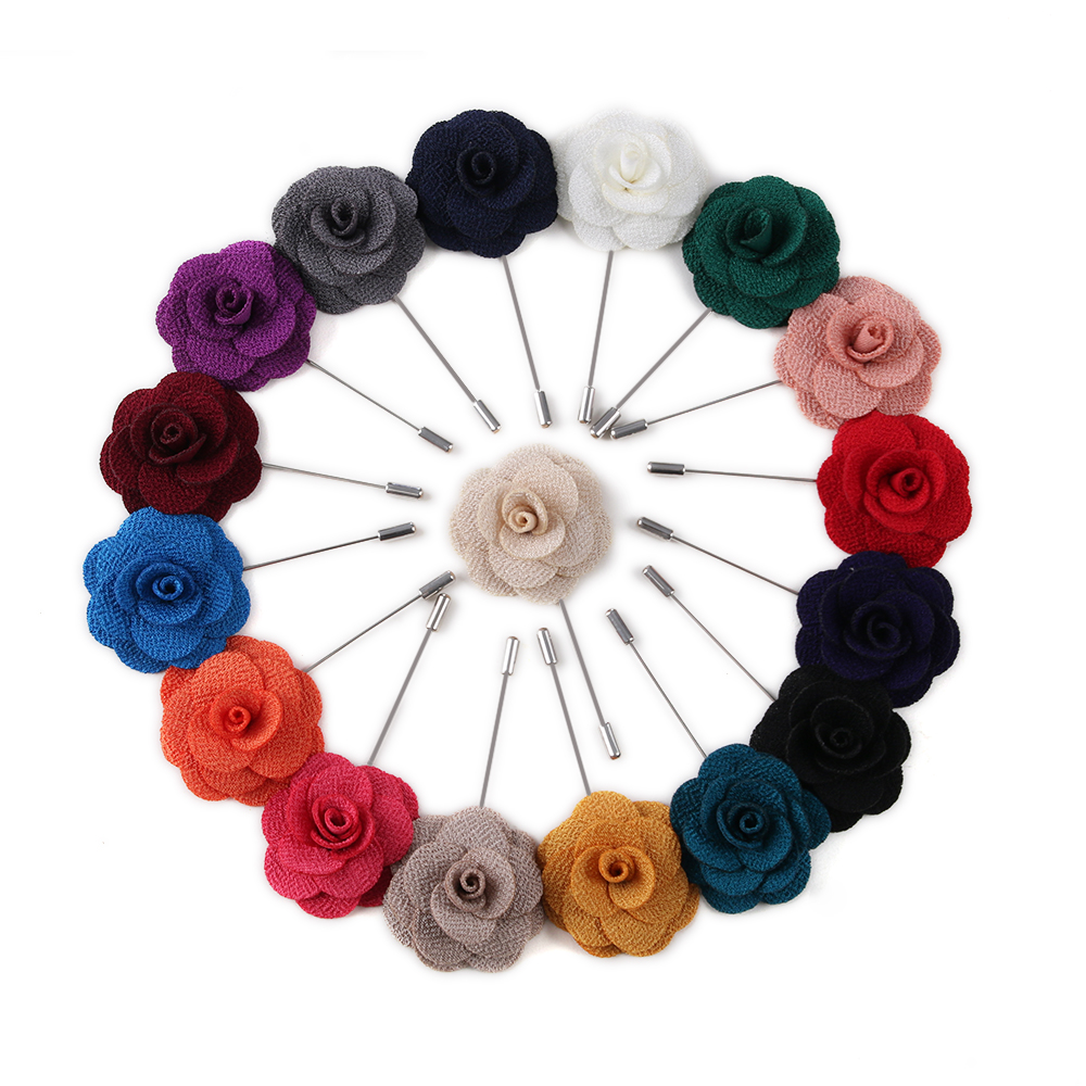 Camellia Flower Lapel Pin – Handmade flower brooch pins for men's and women's suits