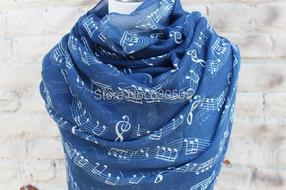 Navy Music Notes Scale Treble Clef Print Infinity Scarf Circle Cowl Note Band Orchestra Composer Director Gift Idea
