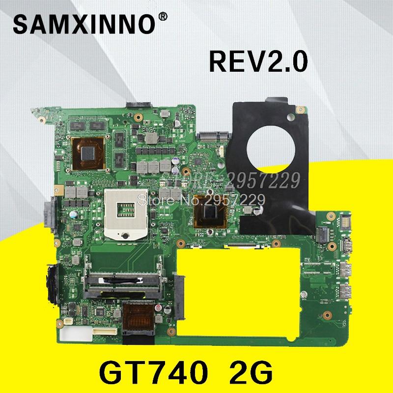 For ASUS N76VJ N76VB N76VZ N76VM N76V REV2.0 Laptop Motherboard GT740 2GB DDR3 HM76 Chipset highest configuration upgrade prefer original for asus k46cm rev2 0 with 987 cpu motherboard 60 ntjmb1101 c03 1g hm76 chipset gt635m 2gb ddr3 work perfect