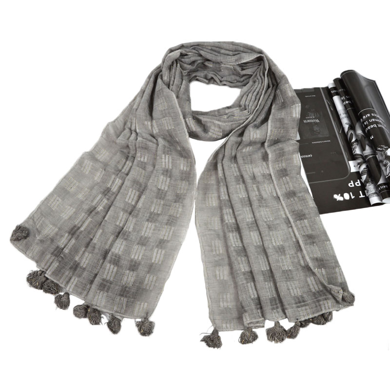 Nice Plaid Cotton Tessel Scarf Lurex Glitte Shawl Islamic Plain Fringed Pashmina Headband Women Muslim Scarves