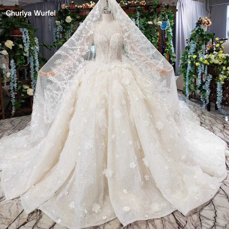 HTL503 luxury princess wedding dresses with train o-neck long sleeve flowers bridal gowns with wedding veil vestido de casamento