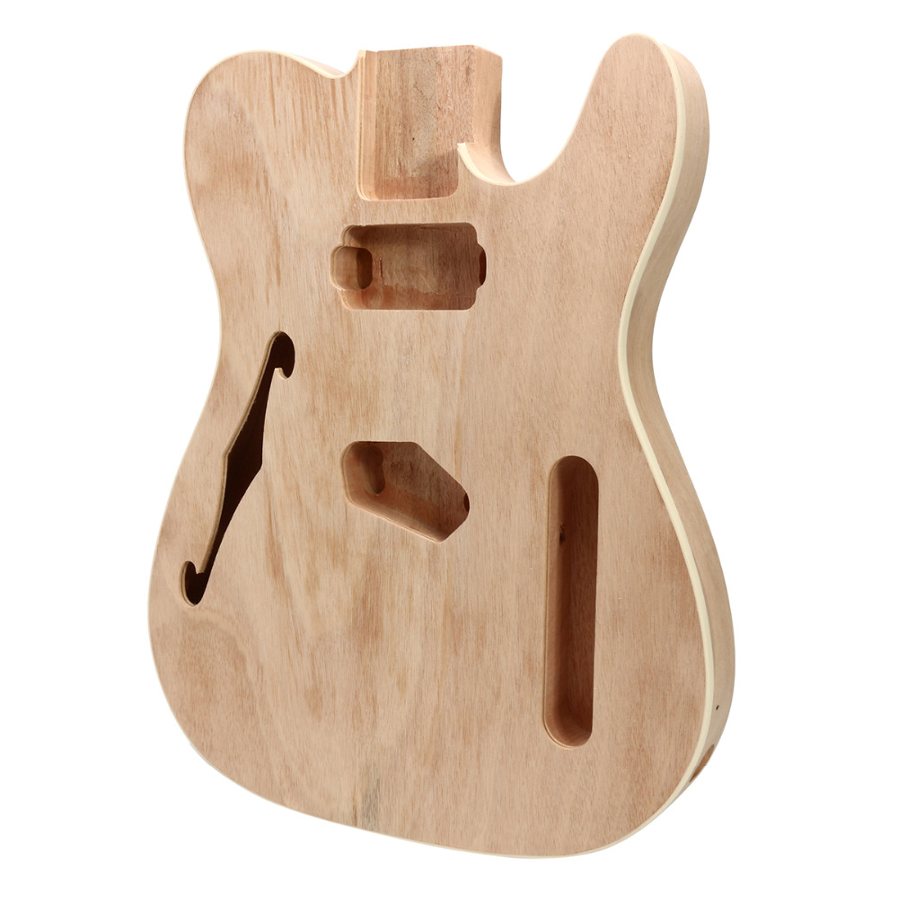 DIY F Hole Electric Guitar Mahogany Wood Body Telecaster Thinline Style Body Part Single top quality new semi hollow models telecaster single f hole wood color electric guitar 22