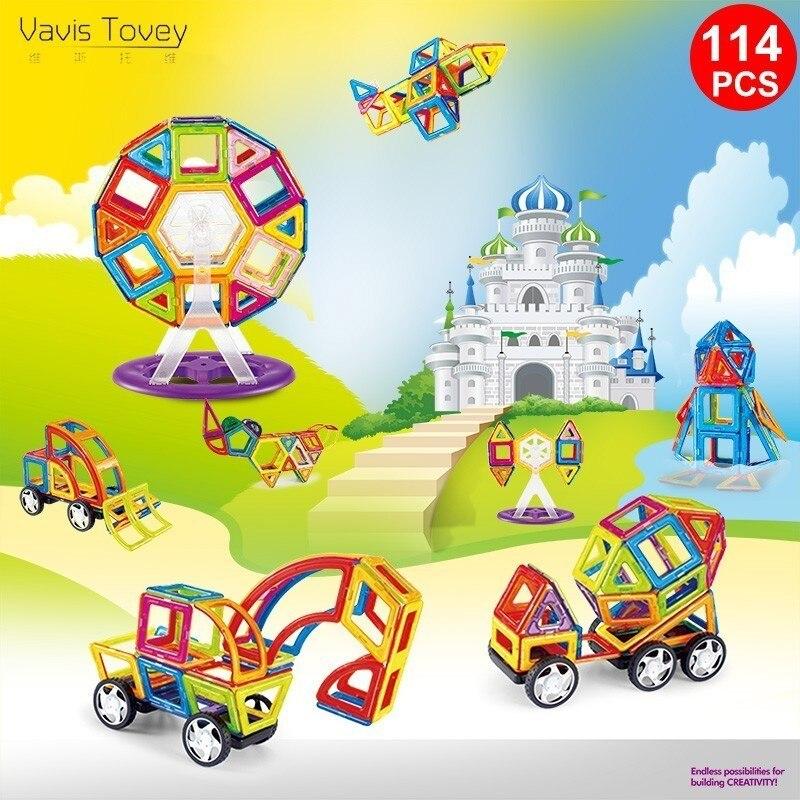 Vavis Tovey 114PCS Magnetic Building Blocks Educational Tiles Kit Magnet 3D Designer Construction Toy Set For Kids Gfit mrpomelo 32pcs clear color magnet building tiles toys for kids magnetic 3d blocks construction playboards child creativity toy