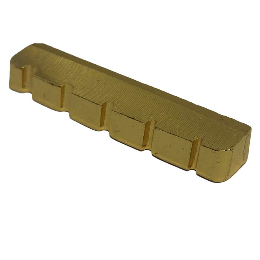 New 5 <font><b>String</b></font> Slotted Brass Gold Palted Electric <font><b>Bass</b></font> Guitar <font><b>Bridge</b></font> Nut 45.2*6*<font><b>8</b></font>/<font><b>8</b></font>.9mm image