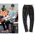 NIEBLA de la Aptitud de la vendimia Negro Pantalones de Los Hombres de Justin Bieber Elástico Cintura Diseño de la cuerda El Miedo De Dios Marca Del Motorista de La Motocicleta Basculador Plus XXL