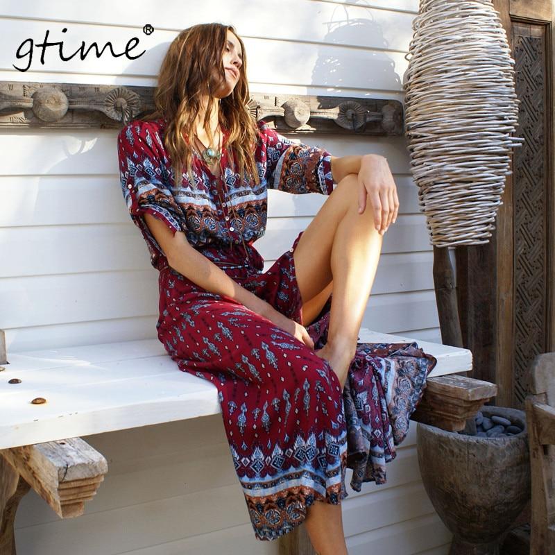 Vestidos VêtementsZkqa121 red Rétro Gtime Marque Femmes Maxi Impression Hippie Floral Dress Nouvelle Black Bohème Longue Imprimé rdCxBeo