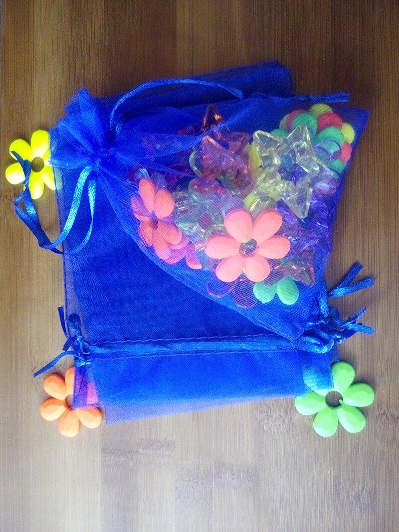 a05bd0ad79db9 17 23 سنتيمتر 500 قطع الأورجانزا حقيبة الملكي الأزرق الرباط حقيبة حقائب  مجوهرات تغليف للشاي هدية الغذاء كيس الحلوى الصغيرة الغزل شفافة