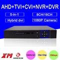 Hi3521a 16ch/8ch 5 em 1 blue-ray caso 1080 p/960 p/720 p/960 h gravador de vídeo vigilância cvi tvi ahd dvr nvr híbrido frete grátis