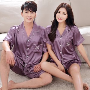 Image 3 - BZEL 2019 Summer New Fashion Matching Couple Pajama Sets Imitated Silk Fabric Pyjama Suit Nightwear Lovers Lingerie Tops+Shorts