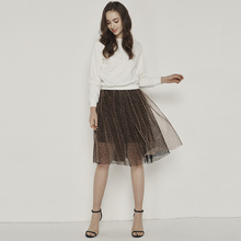 2019 Fashion Spring Summer Leopard Tulle Skirt Woman High Quality Elastic Long Pleated Tutu A-Line Skirts Female
