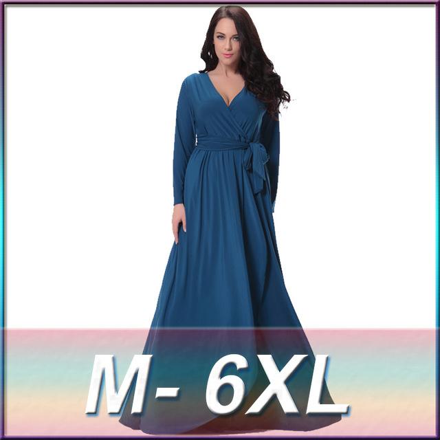 2017 Primavera Otoño de Las Mujeres Elegantes Vestido Jilbabs y Abayas Musulmanes V Cuello Largo de la Manga Más El Tamaño 6XL Ropa Islámica turca bata