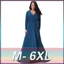 2018 Spring Autumn Elegant Women Muslim Dress Jilbabs and Abayas V Neck Long Sleeve Plus Size 6XL Islamic Clothing turkish robe