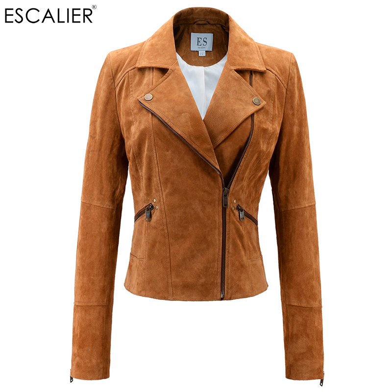 Escalier Womens Real Leather Jacket  Zipper Suede Moto Jackets Turn-Down Collar Coat leather jacket