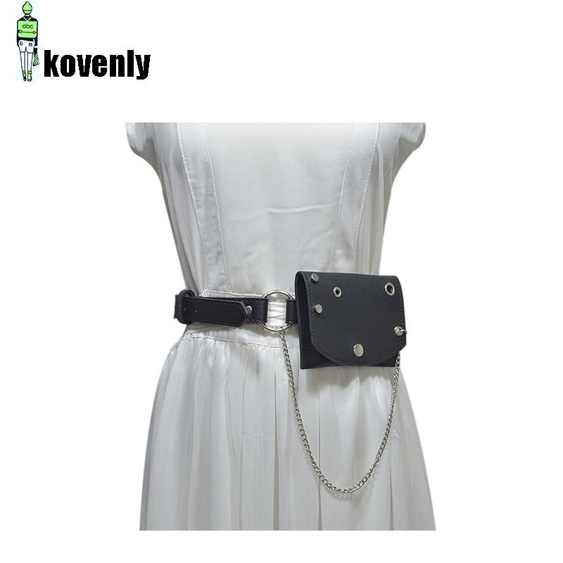 Waist Bag Mini Chain Belt Punk Style Fanny Pack  Casual Vintage Club Bag Female Hip Messenger Purse Metal Buckle Skirts Bags 136