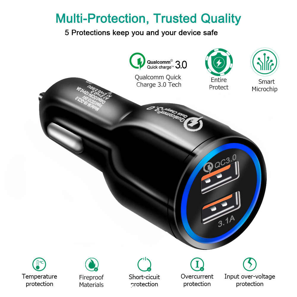 Cargador de coche USB de carga rápida 3,0 2,0 cargador de teléfono móvil 2 puertos USB cargador de coche rápido para iPhone Samsung Xiaomi