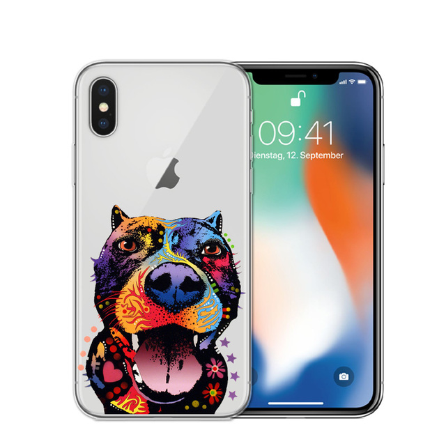 Soft Silicone Colorful Dogs Printed iPhone Case