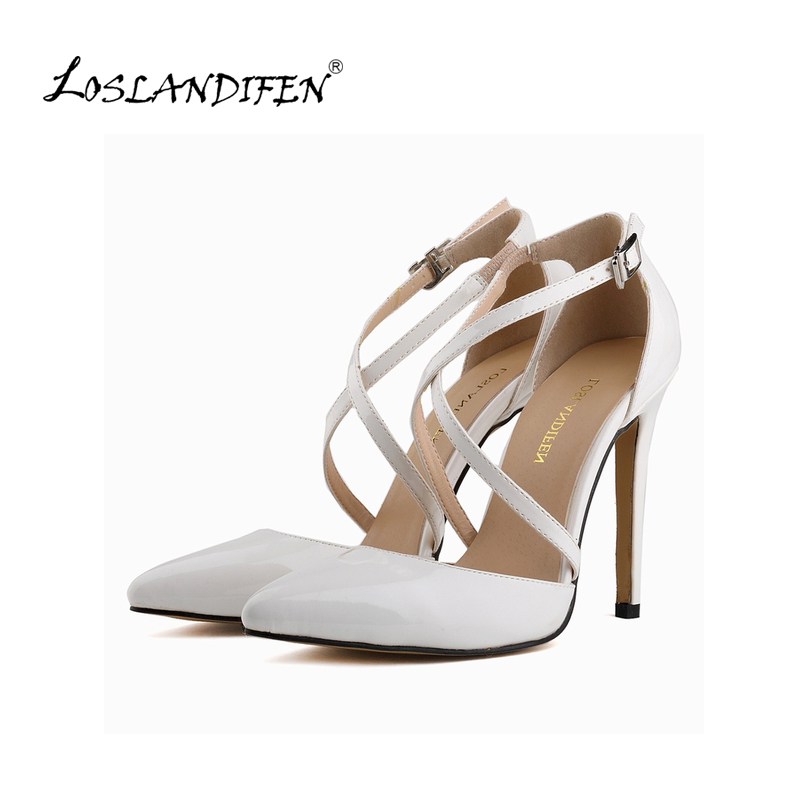 LOSLANDIFEN Fashion Womens Stilettos High Heels Shoes Ankle Strap Sexy Pumps For Women Summer Party Wedding Shoes 302-12PA