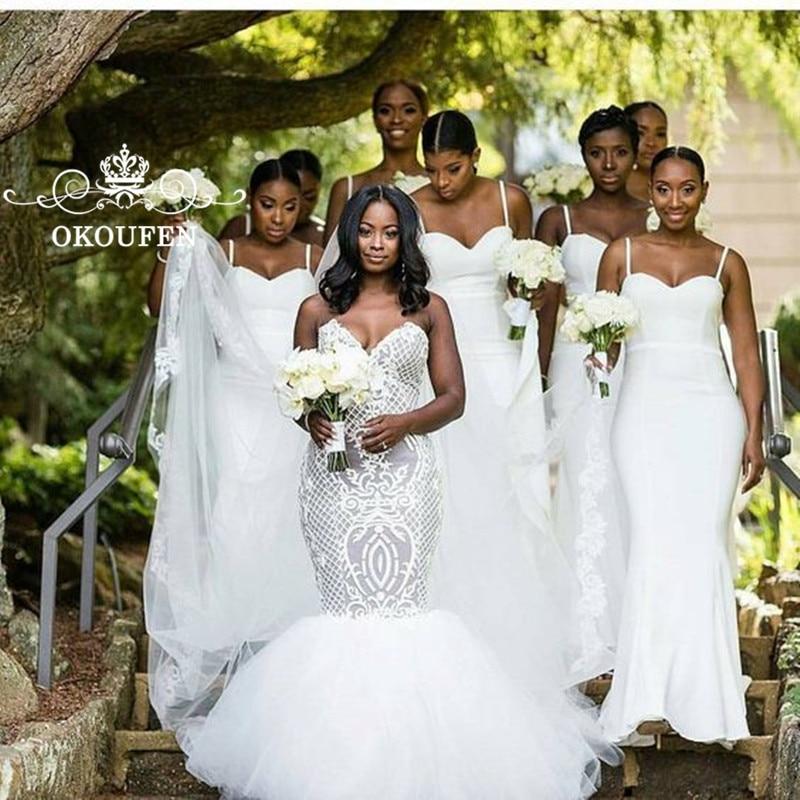White LongMermaid   Bridesmaid     Dresses   2020 African Women Spaghetti Sweetheart Customize Wedding Party   Dress   Maid Of Honor