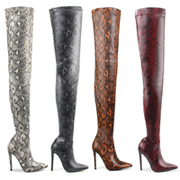 Hot Selling 2018 Snake Python Print Winter Boots Women Snakeskin High Heels Stiletto Shoes Sexy Thigh High Over Knee Boots Mujer