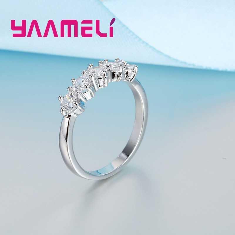 Очаровательные обручальные кольца из стерлингового серебра 925 пробы для женщин Свадебные украшения кубический циркон Кристалл предложение кольцо Bijoux