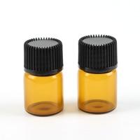 100 Stks Lege Mini 2 ml Amber Glas Vloeibare Pot Aromatherapie Essentiële Olie Fles Opening Adapter & Cap Container