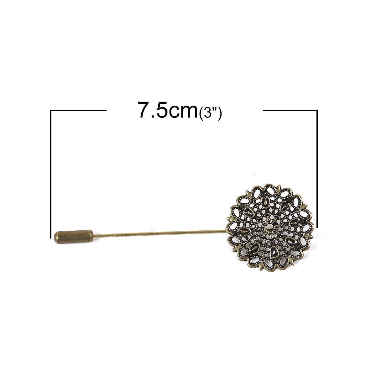 10 Bronze Tone Filigree Flower Brooch Back Pins Findings 7.5x2.5cm
