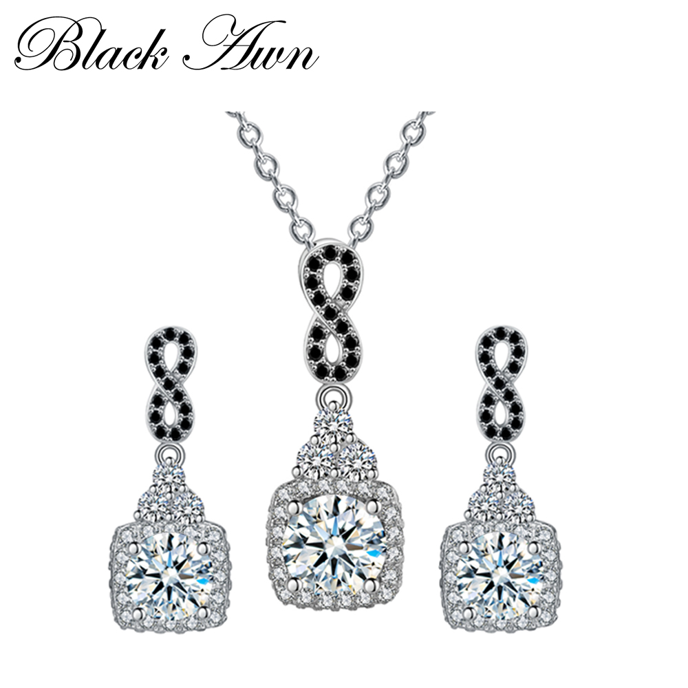925 Sterling Silver Fine Jewelry Sets Trendy Engagement Wedding Necklace+Earring for Women PT152