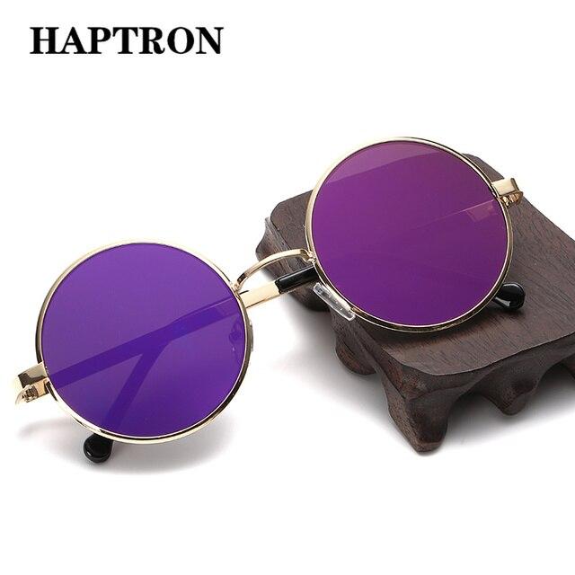 Gafas de sol redondas Vintage HAPTRON para mujer de marca Retro gafas de sol amarillo negro hip hop gafas de sol de mujer estilo callejero