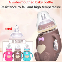 240ml Baby Bottle Kids Cup Silicone Sippy Children Training Cups Cute Baby Drinking Water Straw Handle Feeding Bottle