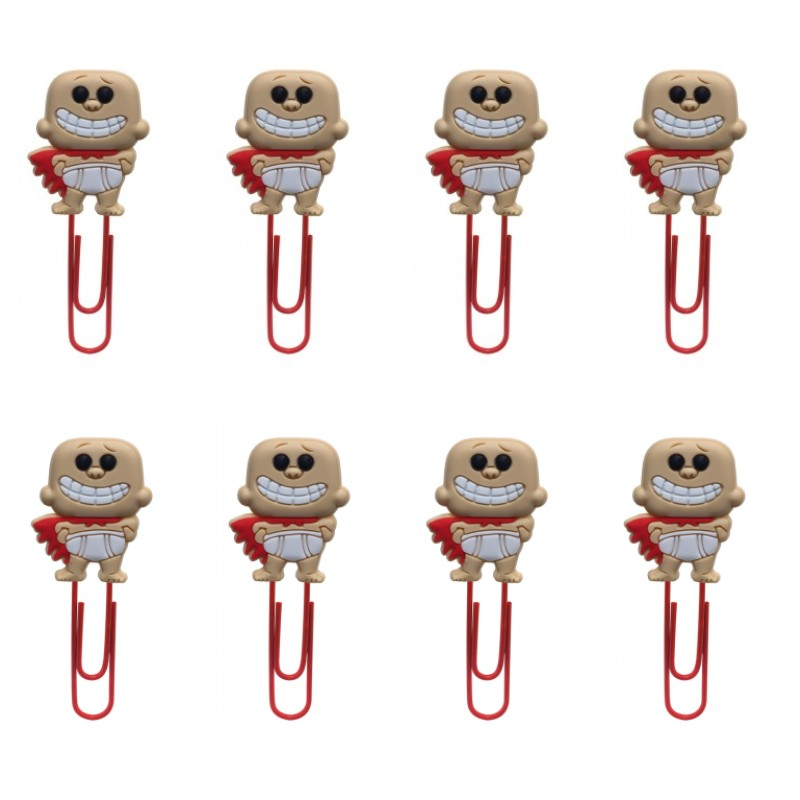8pcs Captain Underpants Cute Bookmarks Paper Clips For Stationery For Student Teacher Office Supply DIY Craft Kids Gift