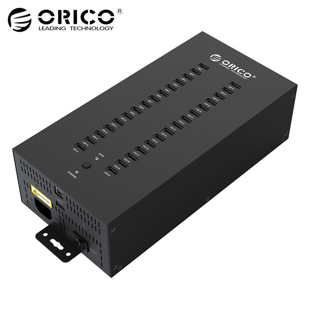 Hub industriale ORICO 30 porte USB 2.0 per lettore di schede SD TF U-disk Data Test Batch Copy - Nero