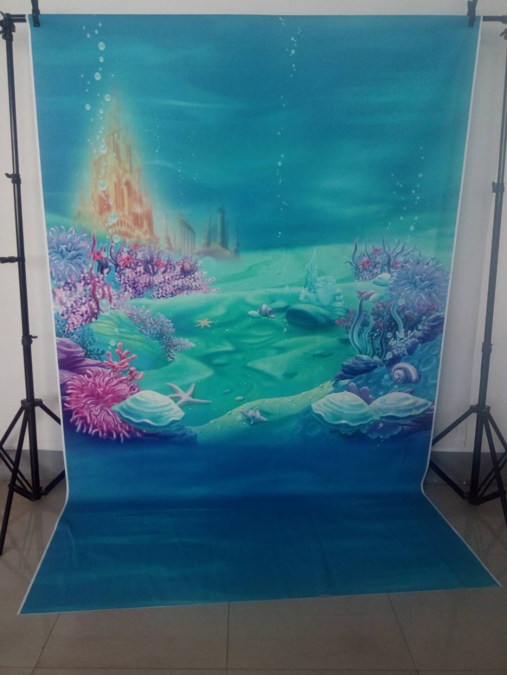 Image 3 - MEHOFOTO Little Mermaid Under Sea Bed Caslte Corals Ariel Princess Photography Backdrop Baby Party Birthday photo background-in Background from Consumer Electronics
