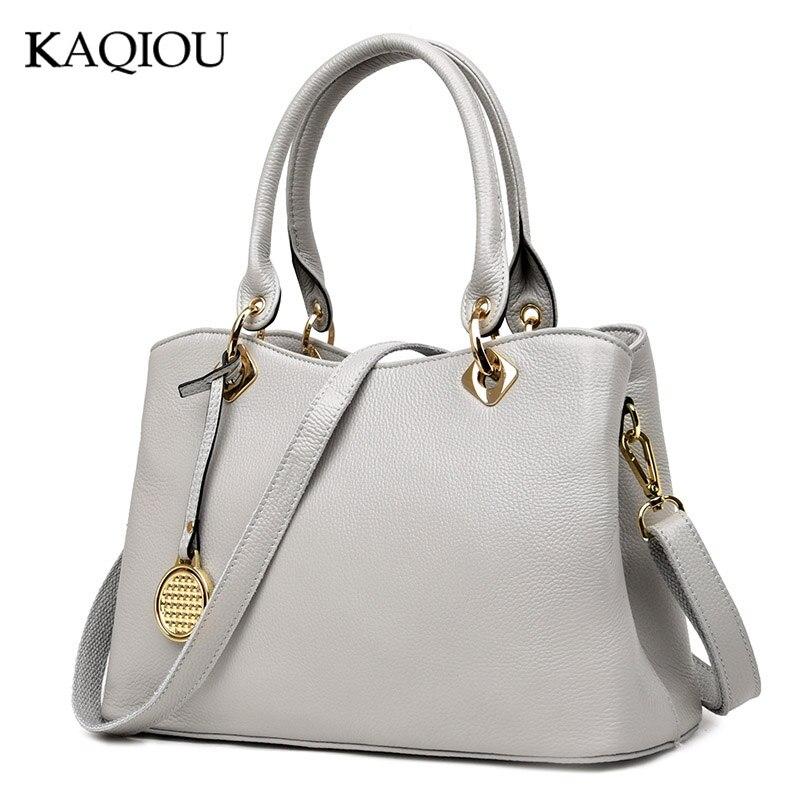 KAQIOU Novo 100% Genuíno Bolsas De Couro Das Mulheres De Luxo Bolsas de Alta Qualidade Ombro Mensageiro Sacos Senhoras Grandes Bolsos Mujer