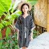 BOHO Girls Dress Kids Tassel Summer Dress Striped Batwing Sleeve Cotton And Linen Fabric Free Shipping