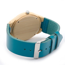 Handmade Men Bamboo Watch Genuine Cowhide Leather Strap