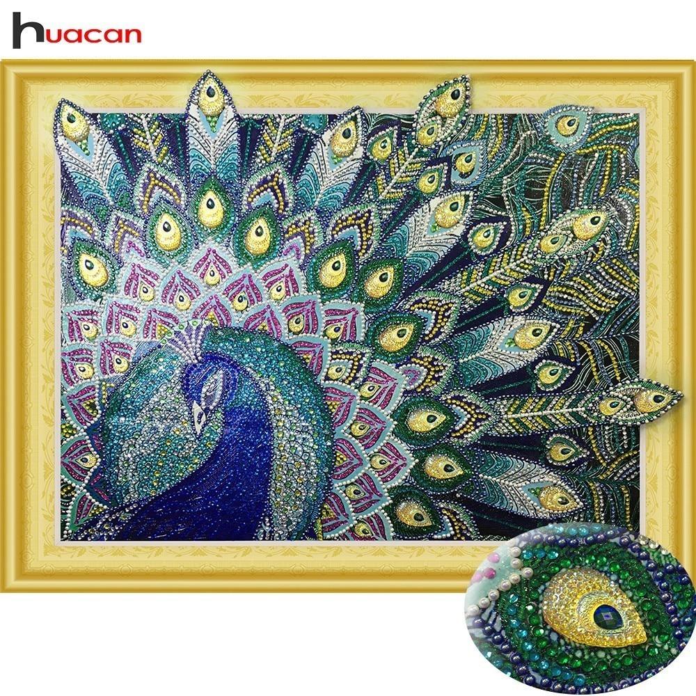 HUACAN Spezielle form Diamant Malerei Pfau Runde Bohrer Diy Diamant Mosaik Tier Diamant Stickerei Set Handwerk 40x50 cm