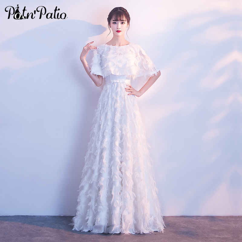 Elegant White Formal Dresses For Women 2019 New A line Floor Length Feather Lace Long Evening