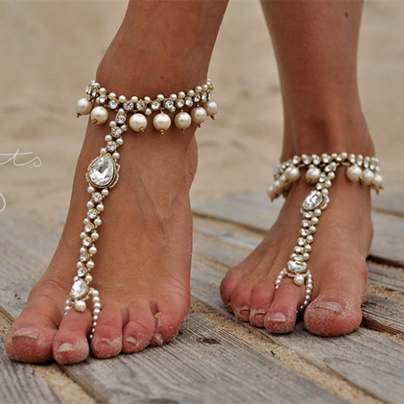 Anklet Bracelet Bohemia Imitated Pearl Crystal Chains Link