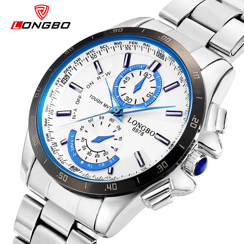 LONGBO Relogio Masculino Luxury Brand Full Stainless Steel Analog Display Sports Casual Male Quartz Waterproof Mens Watch 8978