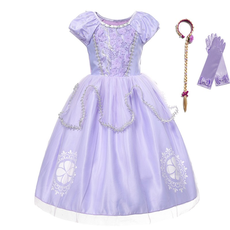 VOGUEON Halloween Kids Deluxe Sofia Dress Up Girls Puff Sleeve Comfy Tulle Sophia Princess Costume Children Cosplay Party Dress button up frilled puff sleeve blouse