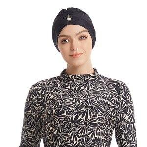 Image 2 - Kąpielówki muzułmańskie kobiety skromne Patchwork hidżab długi rękawy Sport strój kąpielowy islamski muslimah Burkinis nosić strój kąpielowy