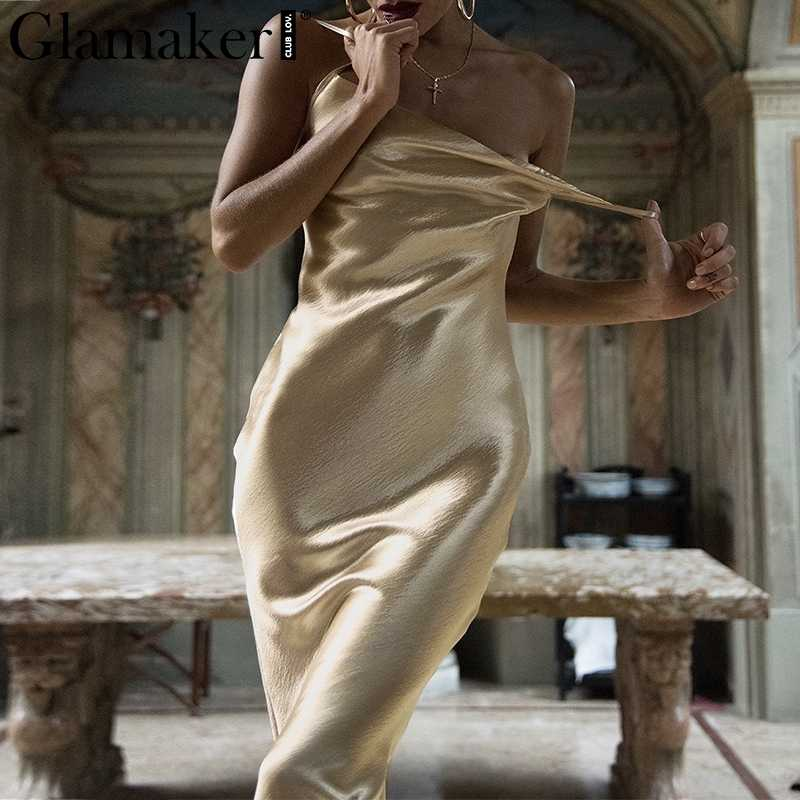 Detail Feedback Questions about Glamaker Glod satin lace up sexy dress  Women backless fashion silk long party dress Elegant club evening soft  summer dress ...