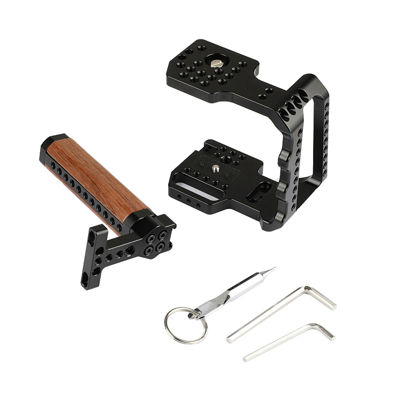 Metal 4K Camera Cage Half Cage Mount Stabilizer With Wooden Top Handle For Blackmagic Design Pocket Cinema Camera 4K Dslr #|Stabilizers| |  - title=