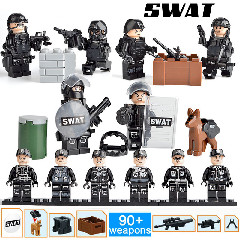 Small SWAT Figures Compatible LegoINGlys Riot Special Froces Tactics Armed Police Policeman Building Blocks Toys Gift