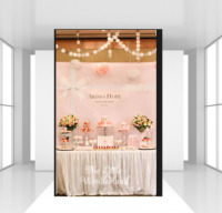 HUAYI Custom baby girl baby shower birthday Backdrop photophone dessert table deocrations White bow pink theme photo background