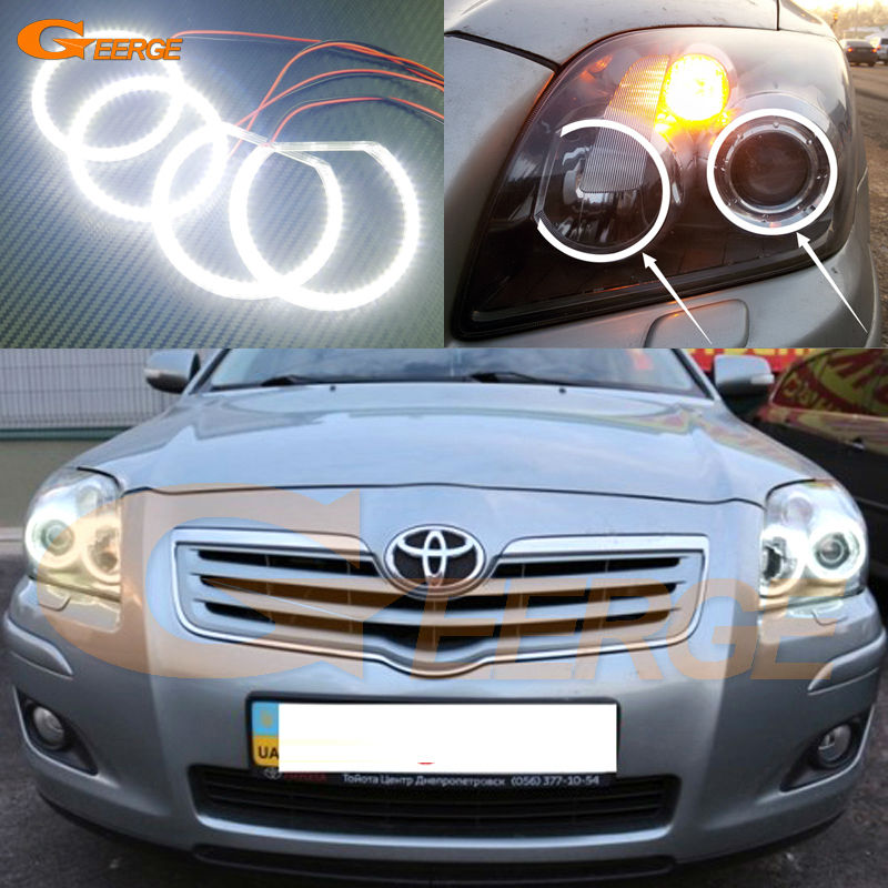 For Toyota Avensis T25 2006 2007 2008 2009 Excellent Ultra bright smd led Angel Eyes Halo Ring kit car led headlight h4 hl beam bulb auto lamp 12v for toyota corolla rav4 avensis auris camry 2007 2008 2009 carro voiture 2017