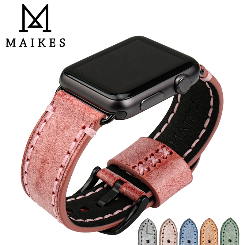 MAIKES Fashion red leather watch strap watch accessories watch bracelet for Apple watch band 42mm 38mm iwatch watchbands maikes 18mm 20mm 22mm watch belt accessories watchbands black genuine leather band watch strap watches bracelet for longines