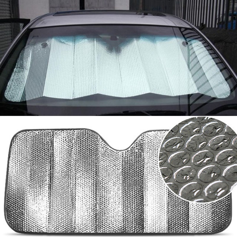 1pcs Car Front After Block Sun Shading Double Sided Pure Silver Foil Bubble Sun Snow Screen Automotive Protective Products
