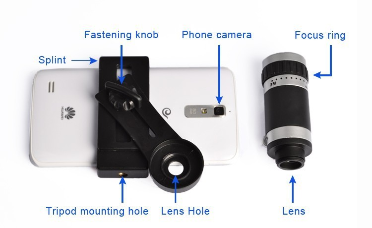 Orbmart 8X Zoom Telescope Telephoto Camera Lens For iPhone 5 5S 6 6S Plus Samsung S6 S5 S4 Galaxy Note 4 Xiaomi HTC Mobile Phone 13