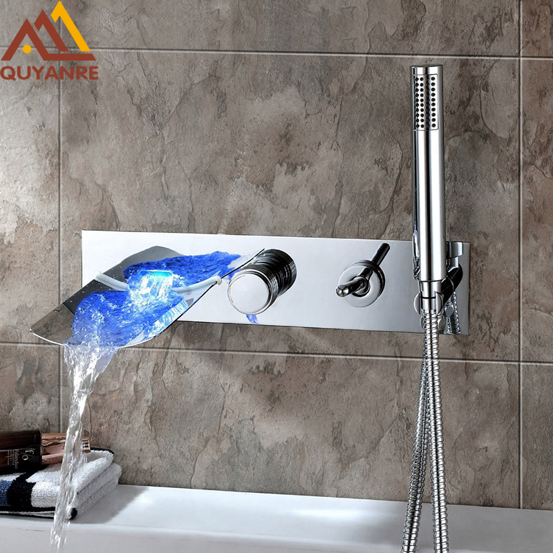 Quyanre Led Bathroom Bathtub Faucet LED Waterfall Tub Spout Filler Faucet With Handheld Shower Wall Mount Brass Mixer Tap Faucet luxury wall mount telephone style bathtub shower faucet with handheld shower tub mixer tap